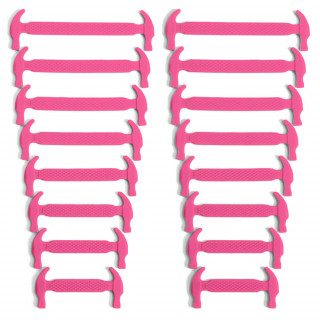 Hot pink elastic silicone shoelaces
